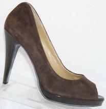 Nine West Portofino brown suede peep toe slip on platform heels 8M 5327 - €27,67 EUR