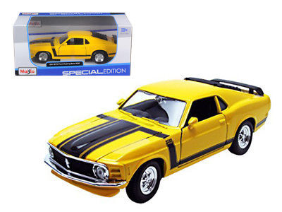 1970 Ford Mustang Boss 302 Yellow 1/24 Diecast Model Car by Maisto