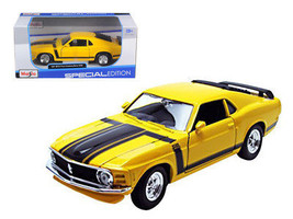 1970 Ford Mustang Boss 302 Yellow 1/24 Diecast Model Car by Maisto - $34.95