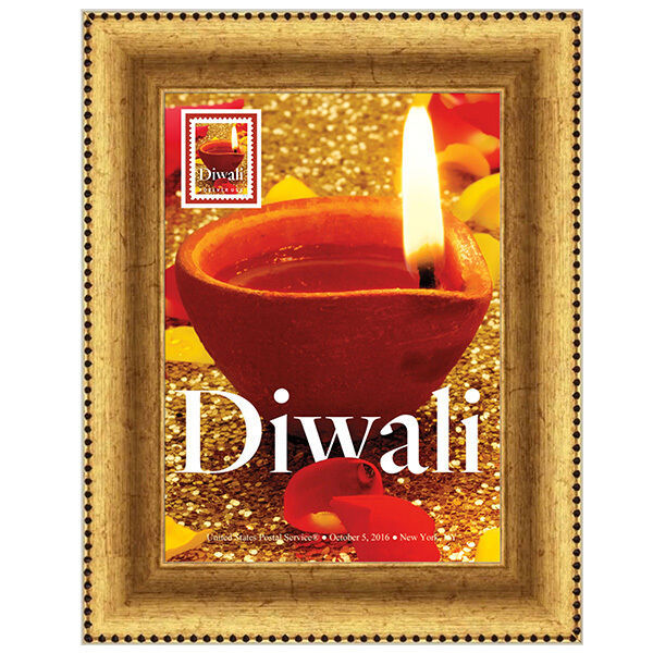 USPS 7 inch x 9 inch INDIA DIWALI  Stamp Framed Art Oct.5 2016 Stamp Issue Date