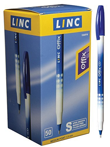 Linc Offix Smooth Ball Point Pen, 1.00mm Tip, 50-Count, Blue