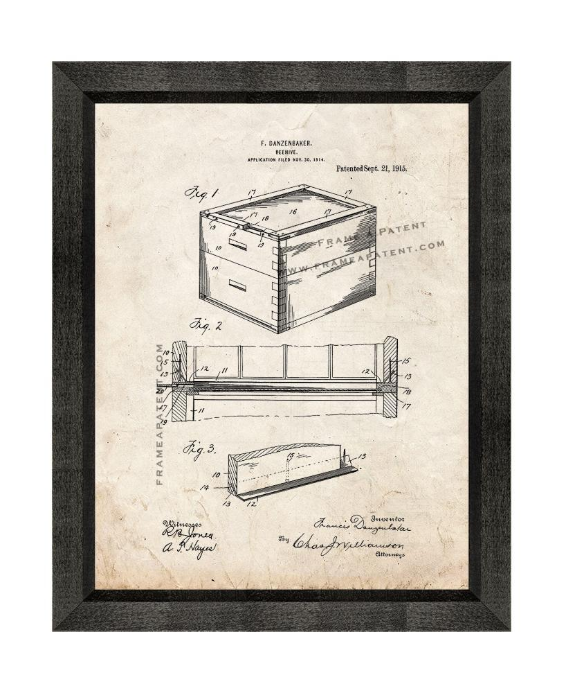 Primary image for Beehive Patent Print Old Look with Beveled Wood Frame