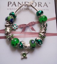 Authentic Pandora Sterling Silver  Bracelet  with Green Murano Glass, Rh... - $102.85