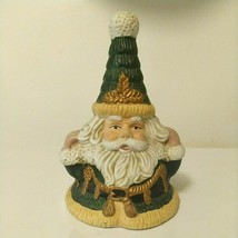 """Vintage 80s Porcelain Christmas Green Gold Santa Claus 6"""" Bell New Year ... - $73.36"""
