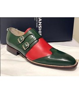 Handmade Men's Green And Red Double Monk Strap Oxford Shoes - $129.99