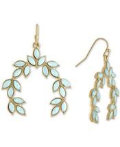 Rachel Roy Gold-Tone Colored Stone Leaf Drop Dangle Earrings NEW