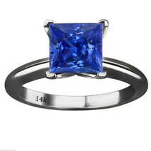 14k Black Gold Princess Cut Blue Sapphire Solitaire Engagement Ring All ... - £89.54 GBP+