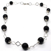 925 Silver Necklace, Faceted Black Onyx, Length 45 CM, Chain Diamonds image 1