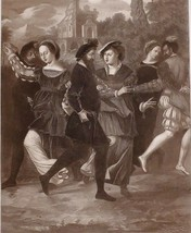 1902 ANTIQUE PRINT (HENRY VIII) THE DANCING PICTURE 1532 TUDOR COURTIERS - $80.11