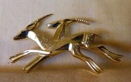 Vintage Double Antelope or Gazelle PIN West Germany Goldtone Brushed Finish - $25.00