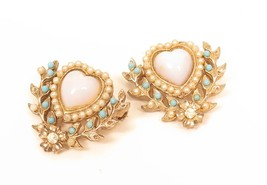 Set of Pink Glass Faux Opal Rhinestone Heart Faux Pearl Floral Vintage P... - $17.81