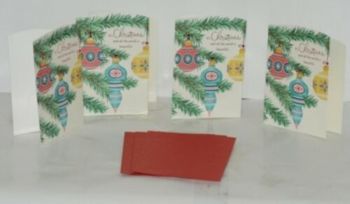 Hallmark XZH 607 1 Three Christmas Ornaments Red Blue Yellow Card Package 4