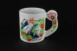 Vtg Cockatoo Parrot Tiki Retro Style Orchid Floral Flat Handle Coffee Cu... - $20.79
