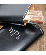 Crushproof Cigar Case: Black Leather with Interior Cedar Lining - Personalized G - $39.95