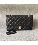 AUTHENTIC CHANEL BLACK QUILTED CAVIAR MEDIUM CLASSIC DOUBLE FLAP BAG Ghw - $4,999.99