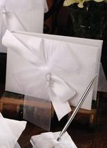 White or Ivory Satin Cross Baptism Christening Communion Guest Book Pen Set - $74.95