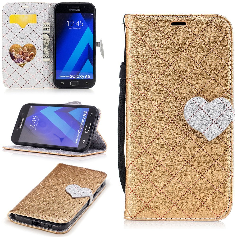 Galaxy A5 2017 Phone Case,XYX Love Buckle Contrast Color Leather Folio Flip Card