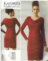 1328 non Découpé Vogue Patron de Couture Femmes Robe Doublée Froncé Tail... - $14.90