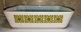Vintage Pyrex 0503 Square Flowers 1 1/2 QT Refrigerator Dish Green NO LID - $14.80