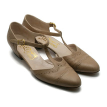 Salvatore Ferragamo Women's Beige T-Strap Leather Shoes Made In Italy 8-1/2 AAA - $51.38