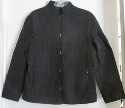 Armani Collezioni Womens Jacket Size 12 Black Quilted Long Sleeve Snaps - $49.49