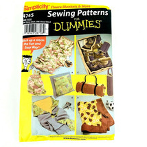 Sewing Patterns For Dummies 4745 Fleece Blankets Pillow Carry Bags Uncut... - $9.89