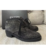 CHANEL 16A 2016 Suede Calfskin Lace Up Lug Sole... - $558.99