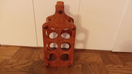 "Vintage solid Cherrywood 6 Bottle Free standing Wine Rack 21 /12"" x 10"" VG+ - $11.95"