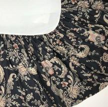 "Vintage Ralph Lauren Alexandra Black Floral Bedskirt Dust Ruffle Queen 16"" Drop - $59.39"