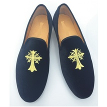 Handmade Men's Black Embroidered Slip Ons Loafer Velvet Shoes image 1