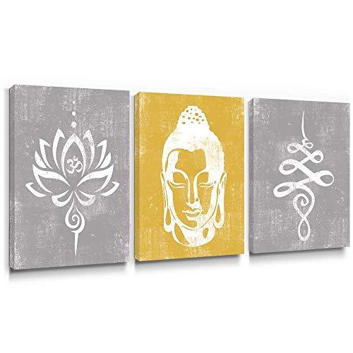 Primary image for Takfot Rustic Wall Art Buddha Paintings Vintage Lotus Flower Prints Yellow and G