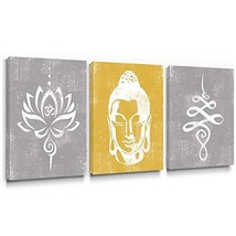 Takfot Rustic Wall Art Buddha Paintings Vintage Lotus Flower Prints Yell... - $79.67