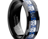Ack blue tungsten carbide ring silver 3d skull skeleton inlay wedding band jewelry thumb155 crop