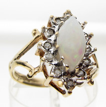 Striking 9ct Gold 10 x 5 mm Marquise Opal & Diamond Set Cluster Ring, Size N - $118.87