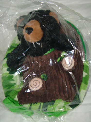 Image 1 of Kreative Kids Plush Green Camo Polyester Backpack & Black Bear Buddy,Little Ones