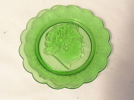 Green Glass Commenorative 5.5 in Plate Elizabet... - $4.99