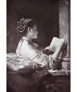 LOVELY MAIDEN Love Letters VIolets - Original Goupil 1879 Photograph - $30.60