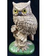 Great Horned Owl Figurine 7 in Brown Yellow Eyes Sculpted - $9.89
