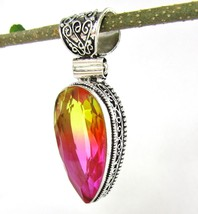 Large Teardrop BiColor Simulated Tourmaline Pendant Silver 925 Ornate NE... - $98.99