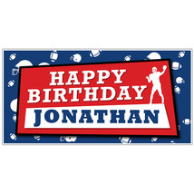 Football Birthday Banner Red and Blue Personalized Party Backdrop - $23.64