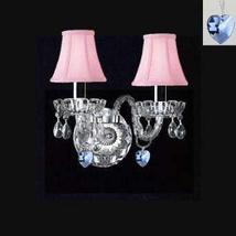 Murano Venetian Style Crystal Wall Sconce Lighting with Blue Hearts & Pink Shade - $87.21