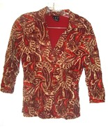 Size S - I.N.C Red & Cream Paisley Floral Print 3/4 Sleeve Nylon Stretch... - $24.99