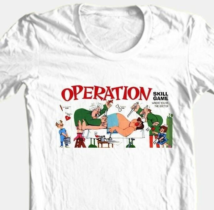 Operation T shirt retro board game 80s vintage toys 100% cotton white tee