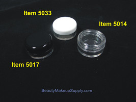 25 Small Plastic Makeup Containers Empty Lip Balm Jars Clear Black White 5 Gram - $13.95