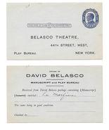 Postal Card UX22 Preprinted for David Belasco Theatre Manuscript Play Bu... - $14.00