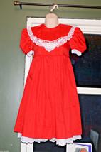 vintage girls red dress white lace trim bib sailor collar girls 8 - $39.59