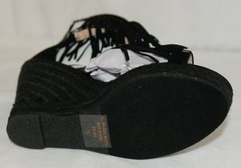 BF Betani Shiloh 8 Black Fringe Wedge Heel Sandals Size 7 And Half image 6