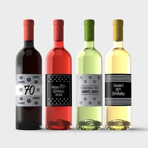 70th Birthday Wine Bottle Labels – Silver and Black 70th Birthday Party ... - $9.41