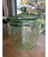 1930's Vintage Green Depression Glass Cookie Jar: Princess Pattern - $64.35