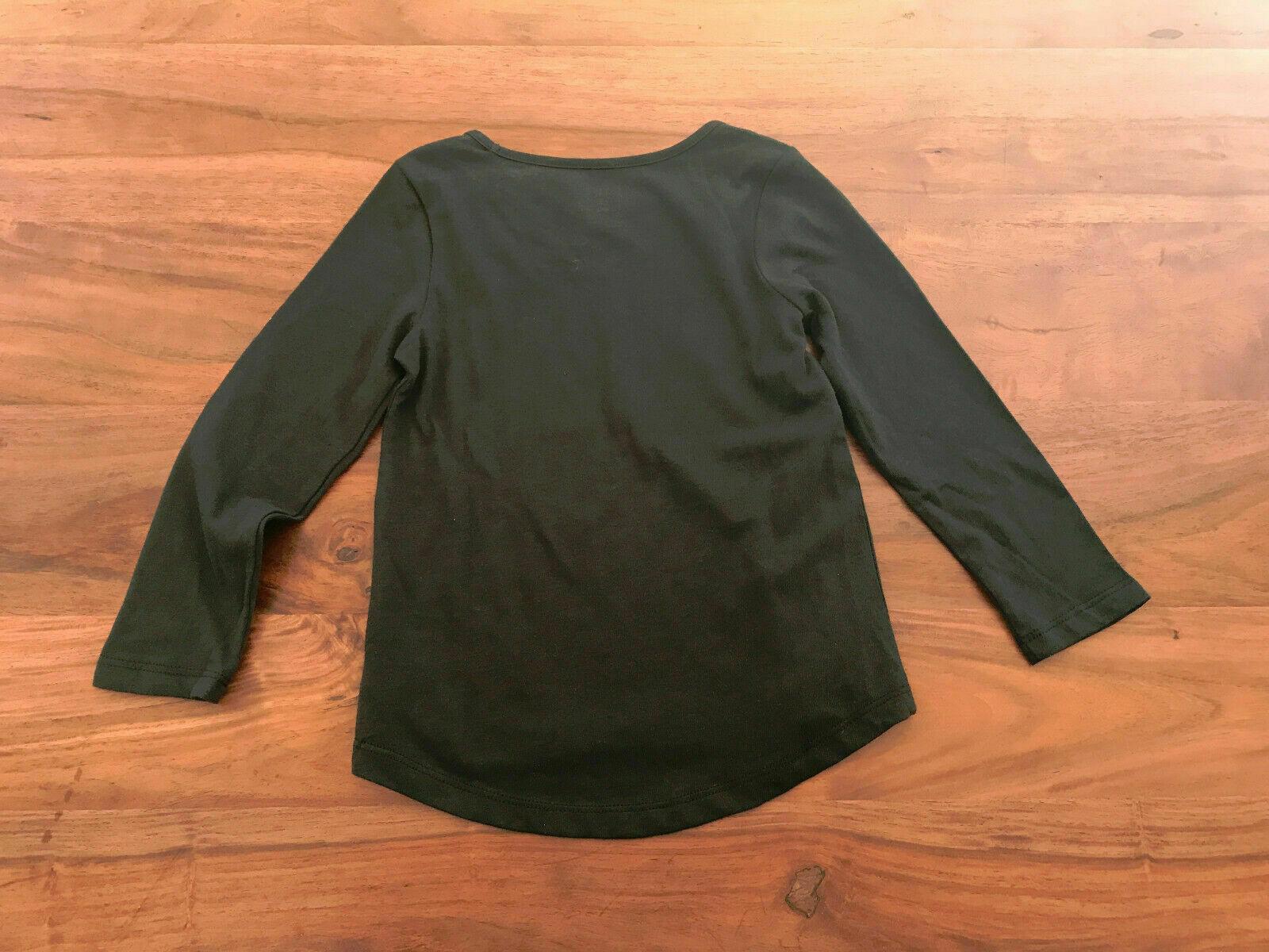 Gap Kids Girls T-shirt 4 4T Cream Gray Black Graphic Snow Winter Long Sleeve New image 2